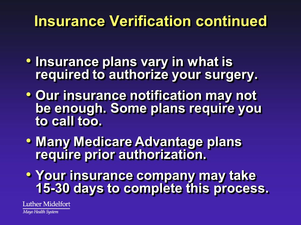 Insurance Verification continued