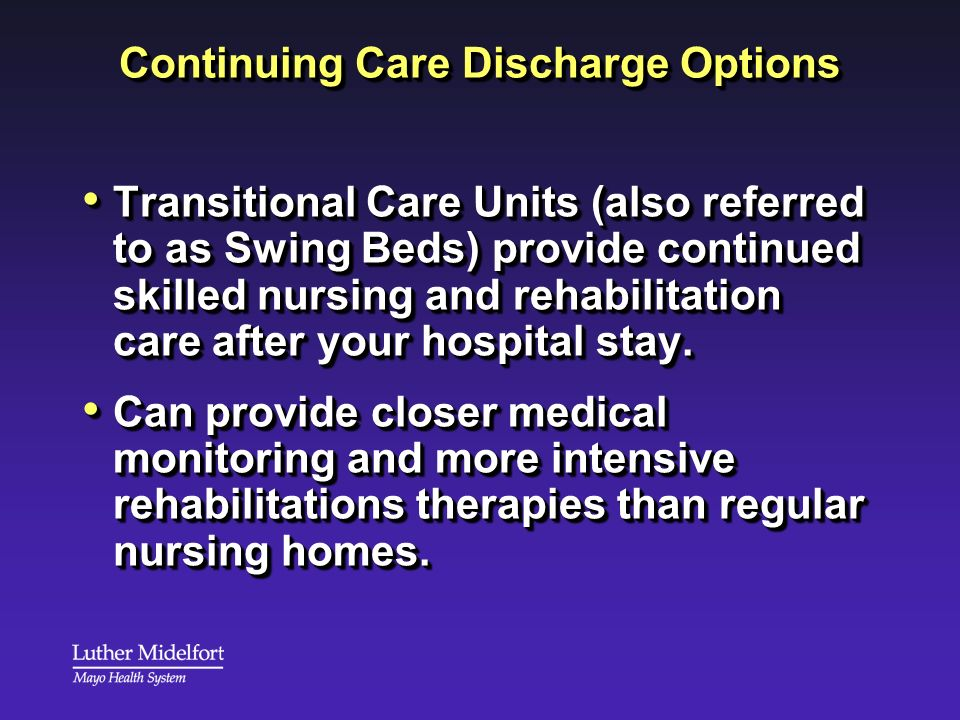 Continuing Care Discharge Options
