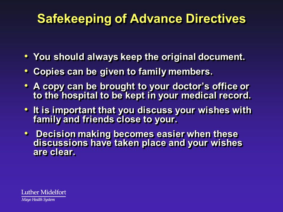 Safekeeping of Advance Directives