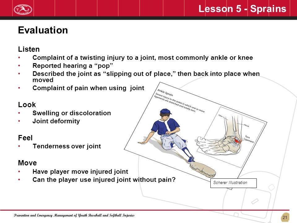 Lesson 5 - Sprains Evaluation Listen Look Feel Move