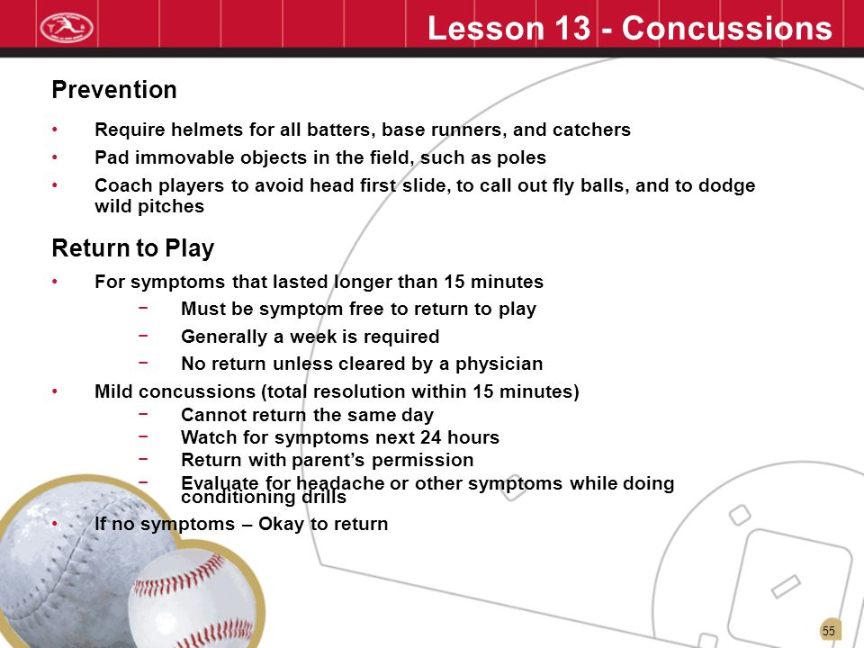 Lesson 13 - Concussions Prevention Return to Play