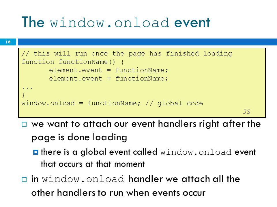 Unobtrusive javascript ppt video online download for Window onload javascript