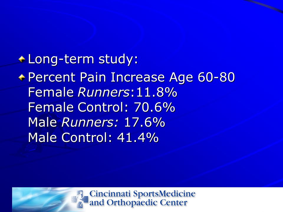 Long-term study: Percent Pain Increase Age 60-80 Female Runners:11.8% Female Control: 70.6% Male Runners: 17.6% Male Control: 41.4%