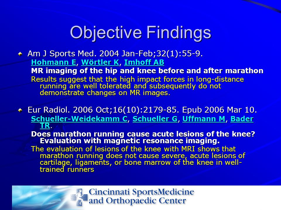 Objective Findings Am J Sports Med Jan-Feb;32(1):55-9.