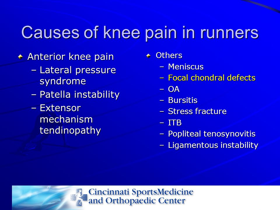Causes of knee pain in runners