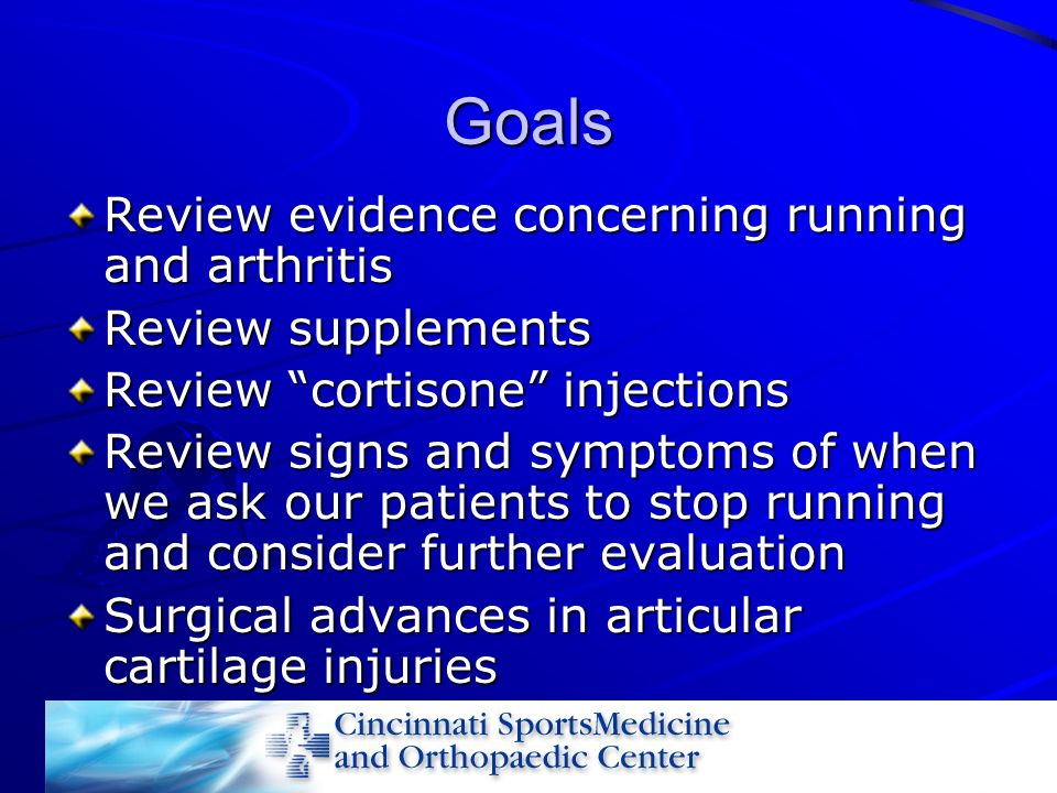 Goals Review evidence concerning running and arthritis