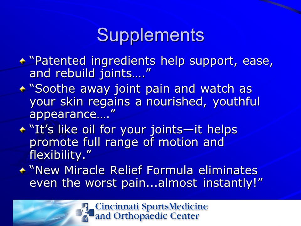 Supplements Patented ingredients help support, ease, and rebuild joints….