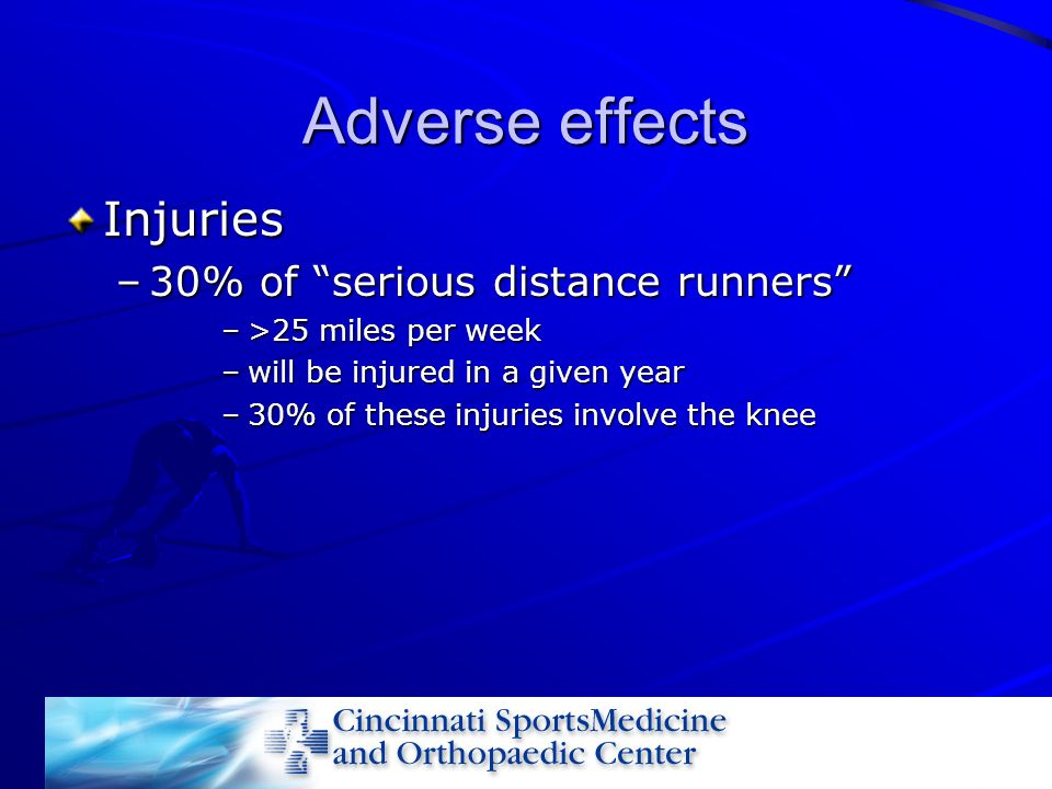 Adverse effects Injuries 30% of serious distance runners