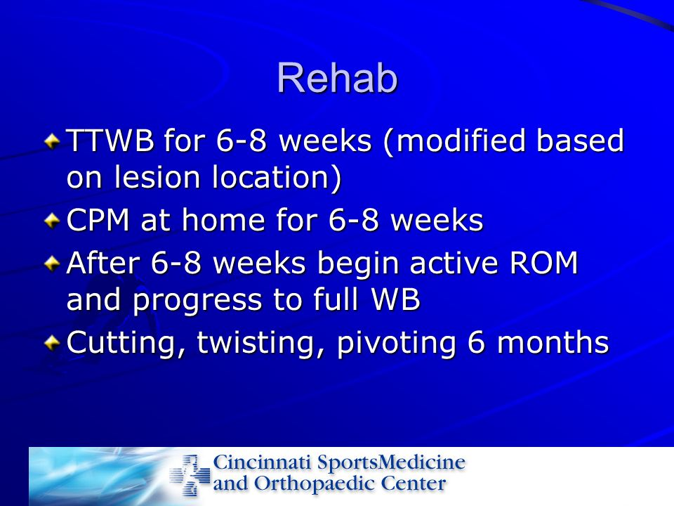 Rehab TTWB for 6-8 weeks (modified based on lesion location)