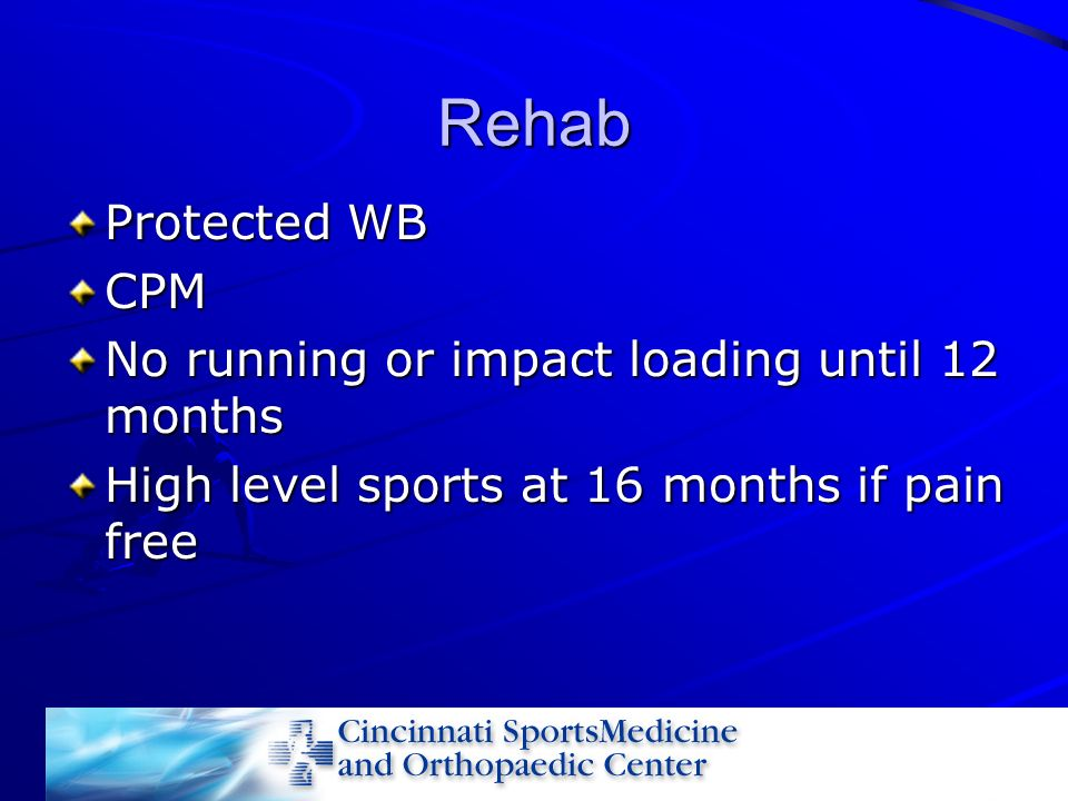 Rehab Protected WB CPM No running or impact loading until 12 months