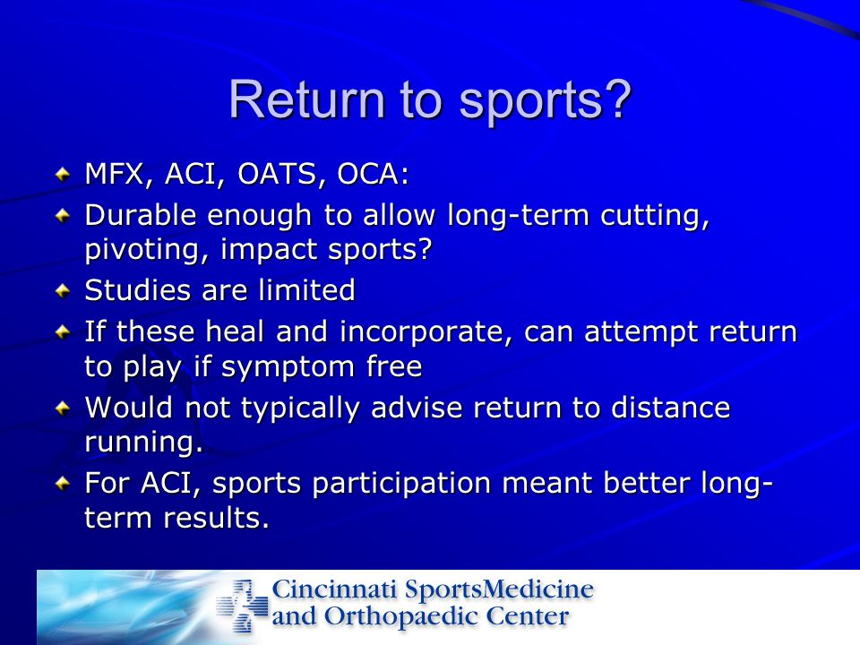 Return to sports MFX, ACI, OATS, OCA: