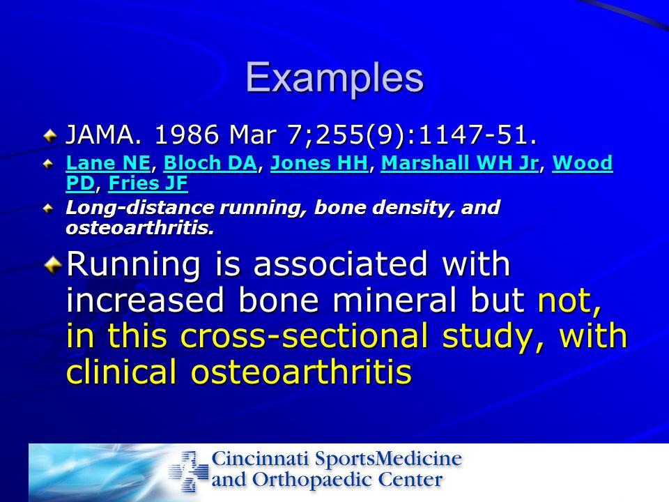 Examples JAMA. 1986 Mar 7;255(9):1147-51. Lane NE, Bloch DA, Jones HH, Marshall WH Jr, Wood PD, Fries JF.
