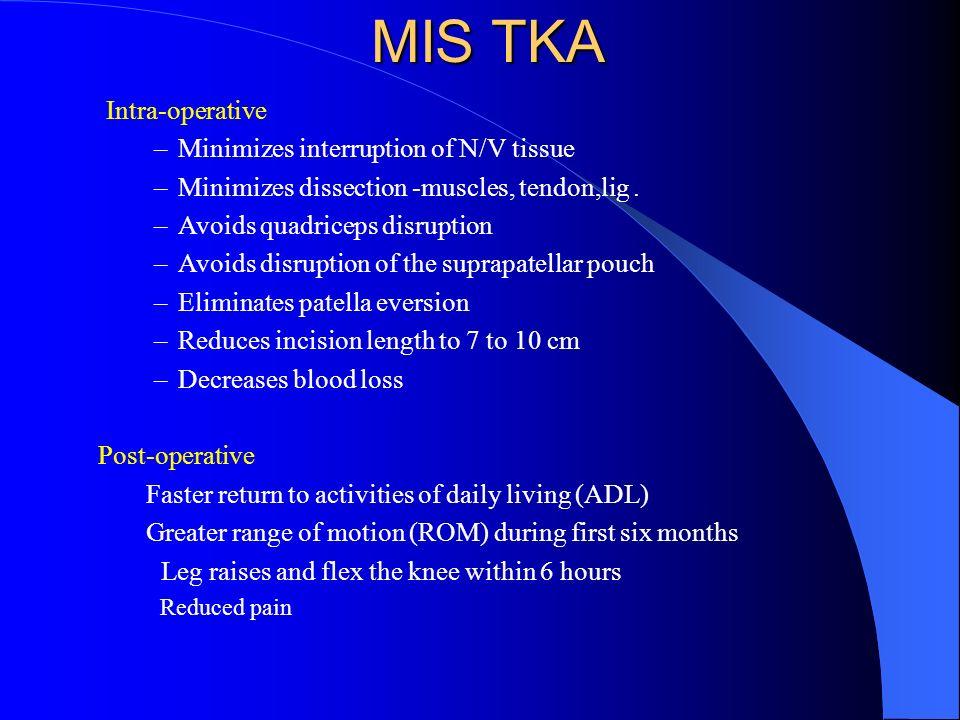 MIS TKA Intra-operative Minimizes interruption of N/V tissue