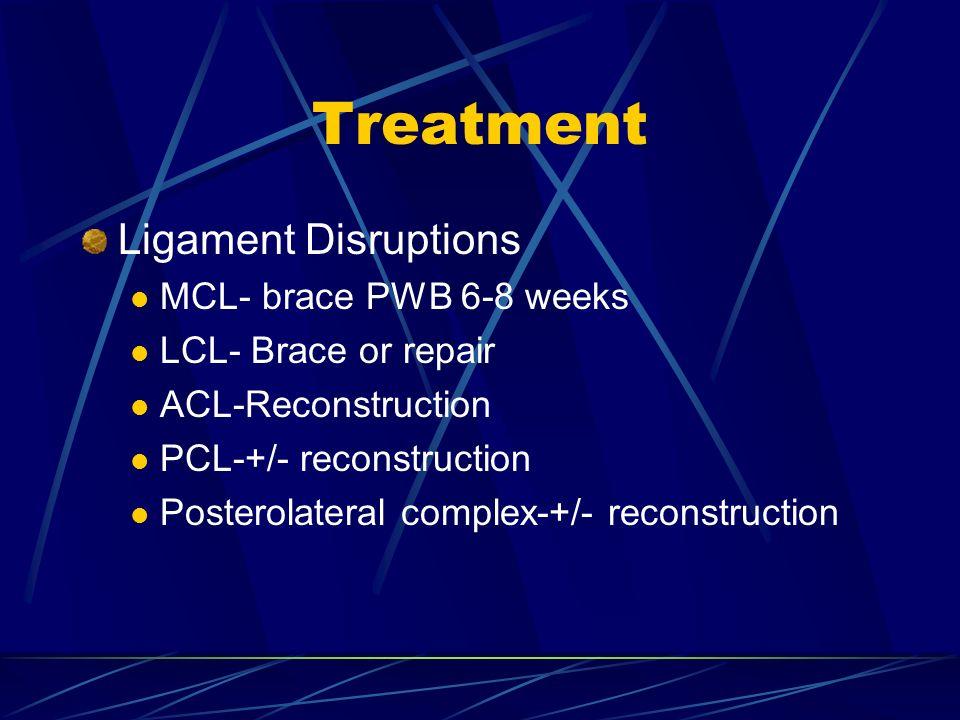 Treatment Ligament Disruptions MCL- brace PWB 6-8 weeks