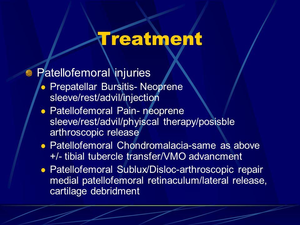 Treatment Patellofemoral injuries