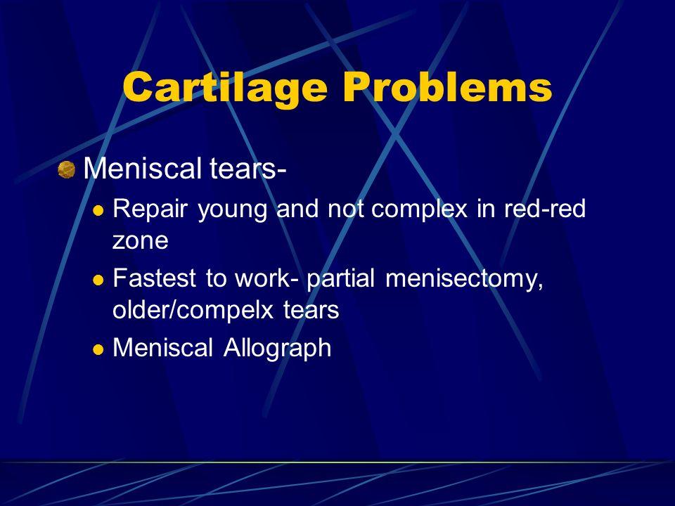 Cartilage Problems Meniscal tears-