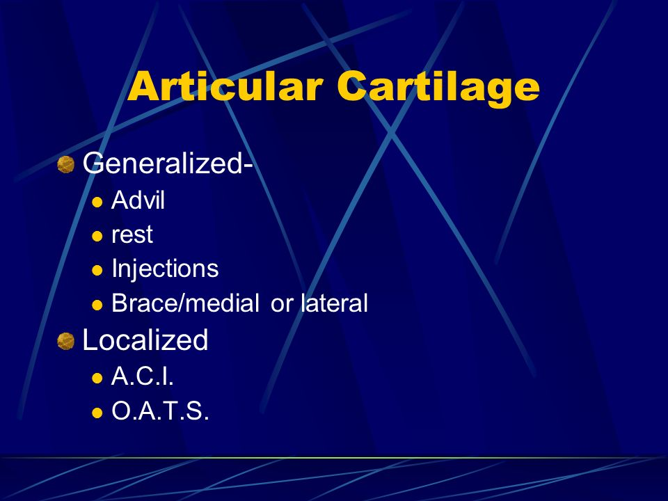 Articular Cartilage Generalized- Localized Advil rest Injections