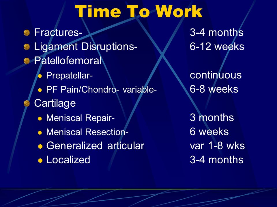 Time To Work Fractures- 3-4 months Ligament Disruptions- 6-12 weeks