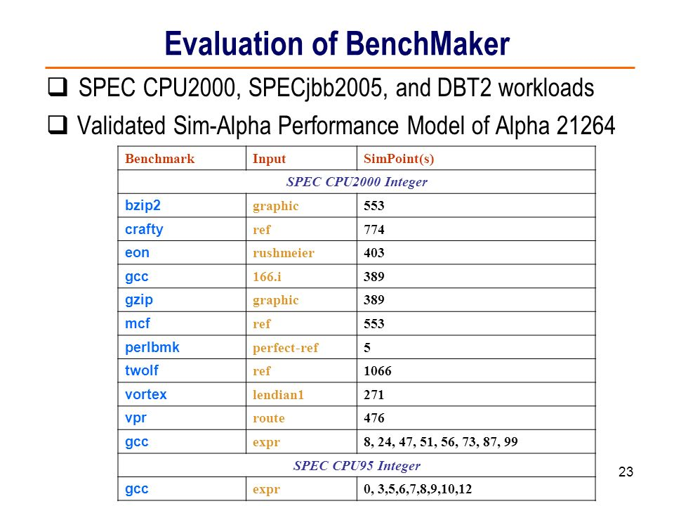 Evaluation of BenchMaker