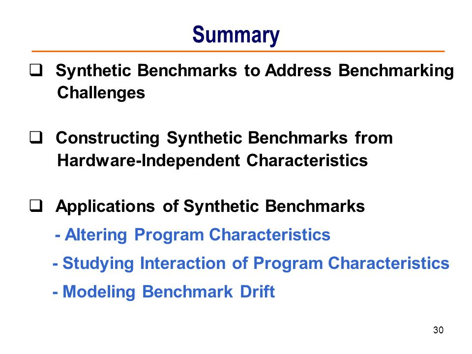 Summary Synthetic Benchmarks to Address Benchmarking Challenges
