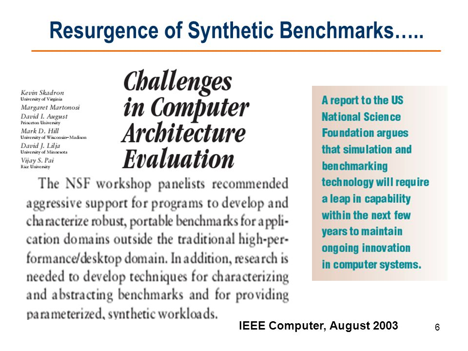 Resurgence of Synthetic Benchmarks…..