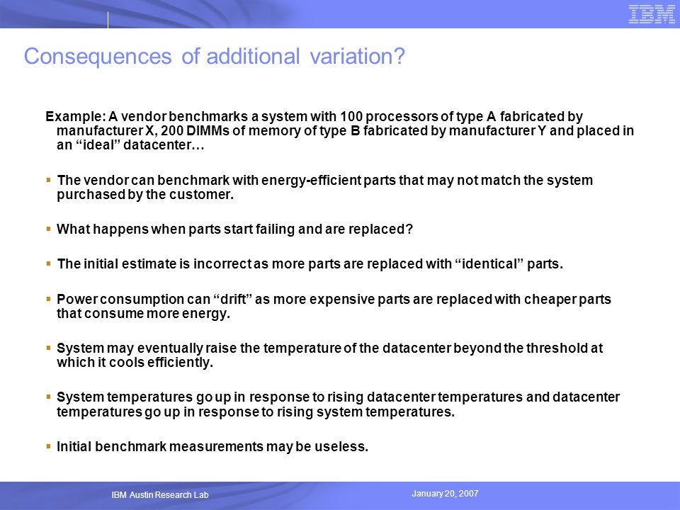 Consequences of additional variation
