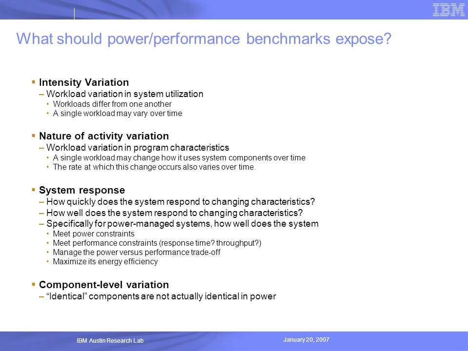 What should power/performance benchmarks expose