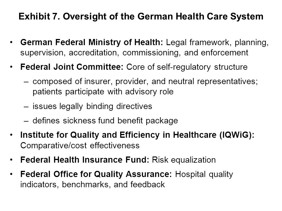 Exhibit 7. Oversight of the German Health Care System