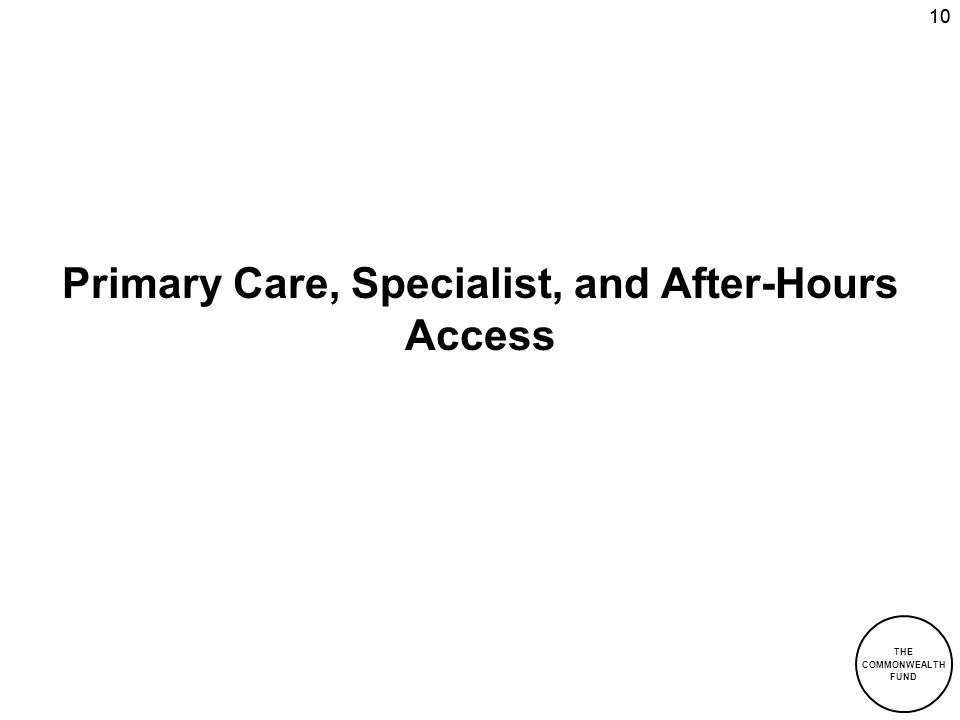 Primary Care, Specialist, and After-Hours Access