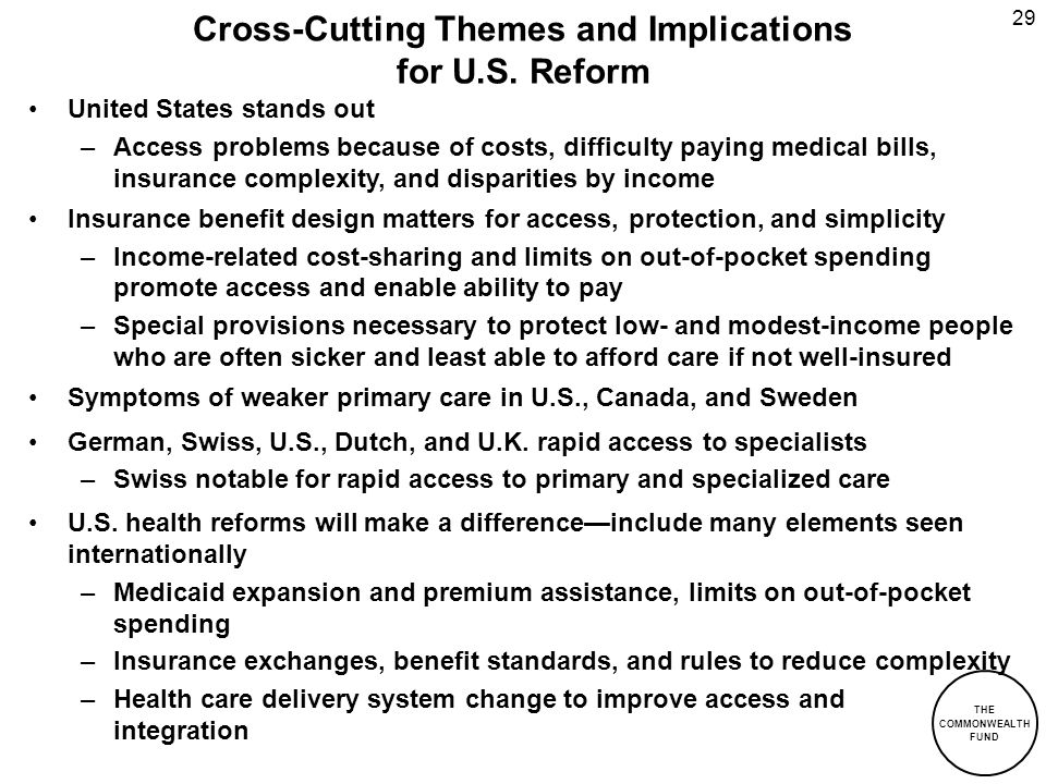 Cross-Cutting Themes and Implications for U.S. Reform
