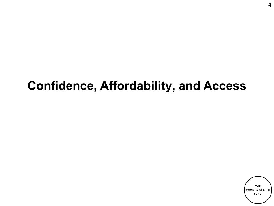 Confidence, Affordability, and Access