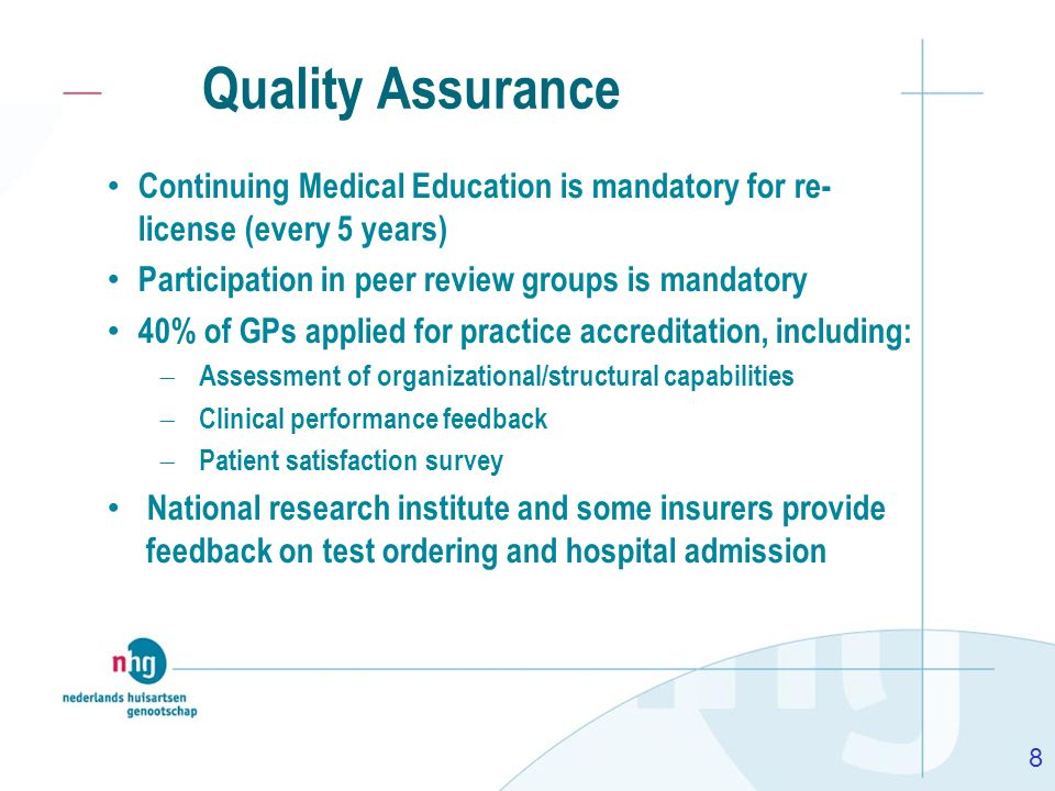 Quality AssuranceContinuing Medical Education is mandatory for re- license (every 5 years) Participation in peer review groups is mandatory.