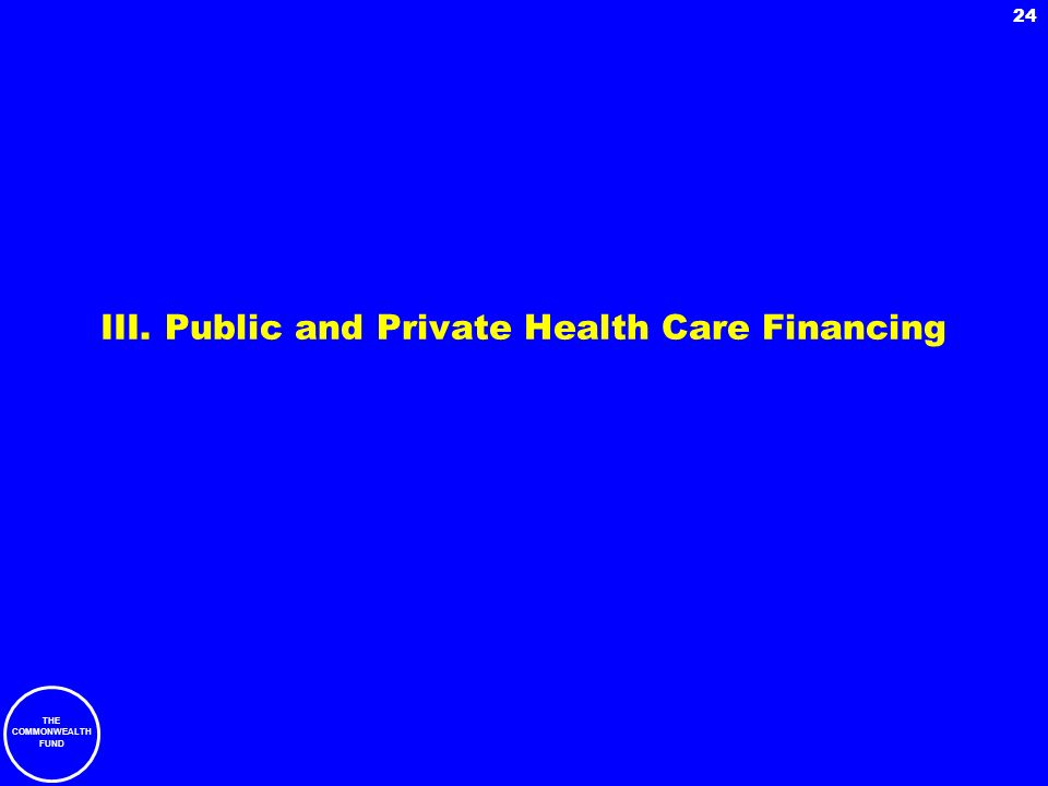 III. Public and Private Health Care Financing