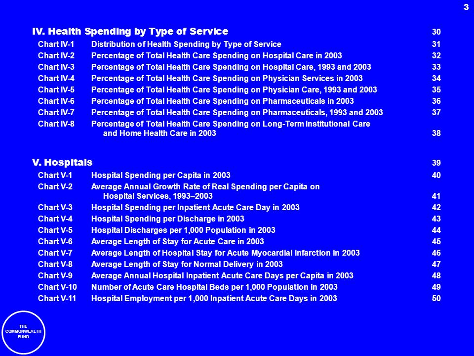 IV. Health Spending by Type of Service 30