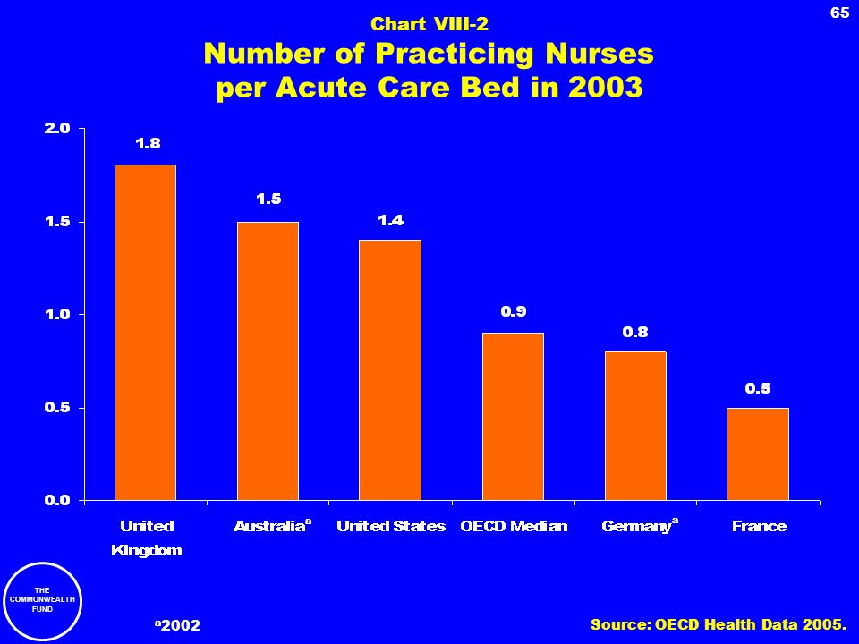 Chart VIII-2 Number of Practicing Nurses per Acute Care Bed in 2003