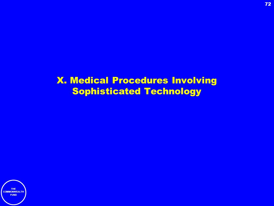 X. Medical Procedures Involving Sophisticated Technology
