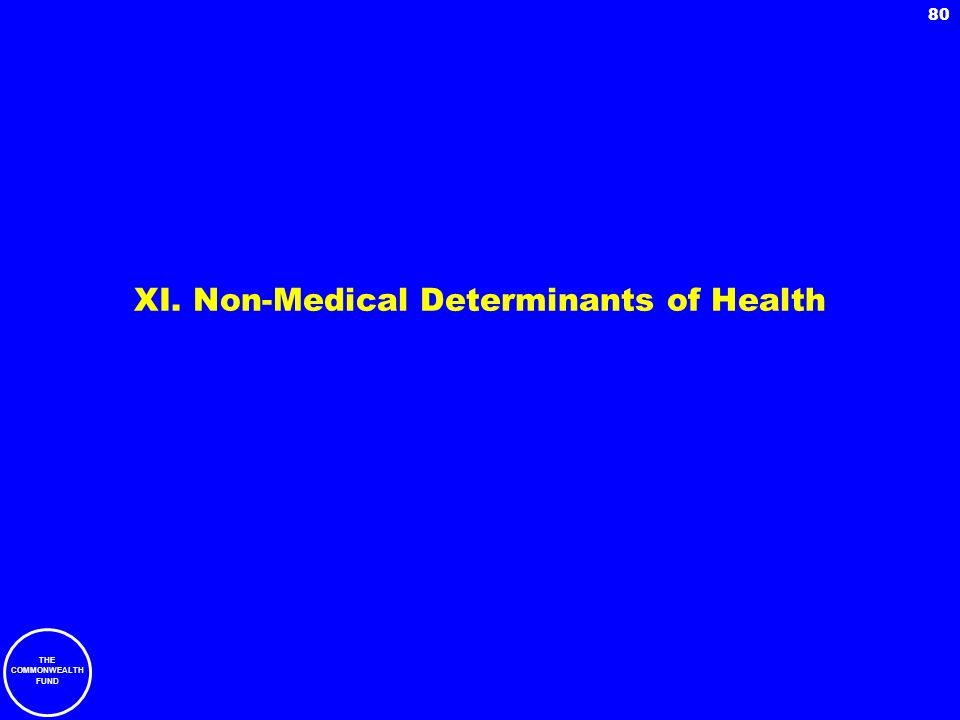 XI. Non-Medical Determinants of Health
