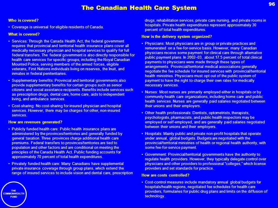 The Canadian Health Care System