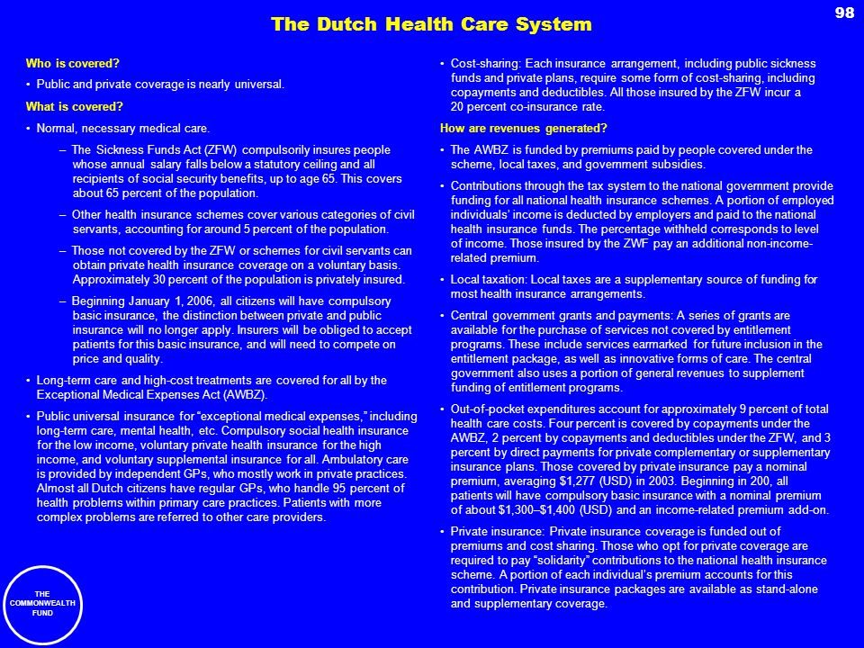 The Dutch Health Care System