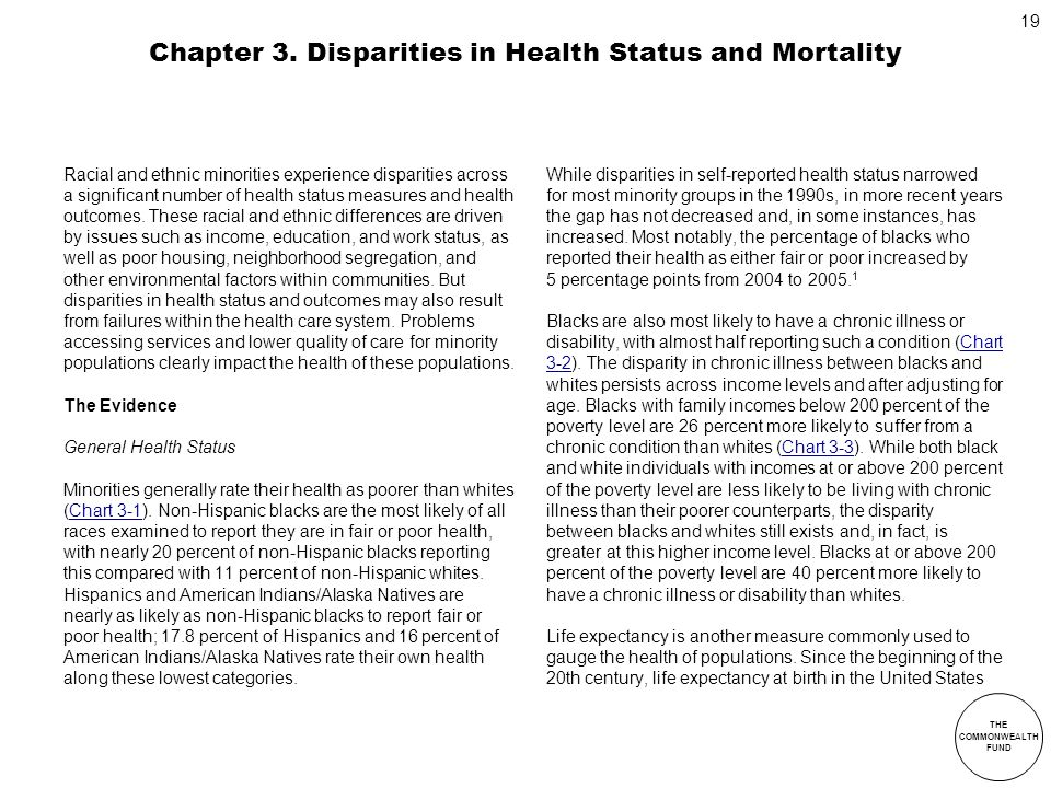 Chapter 3. Disparities in Health Status and Mortality