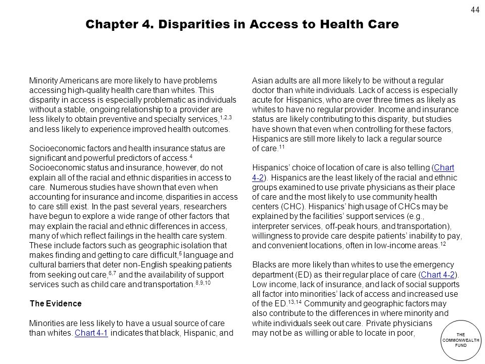Chapter 4. Disparities in Access to Health Care