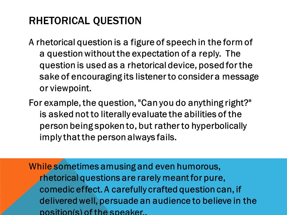 asking a rhetorical question in an essay