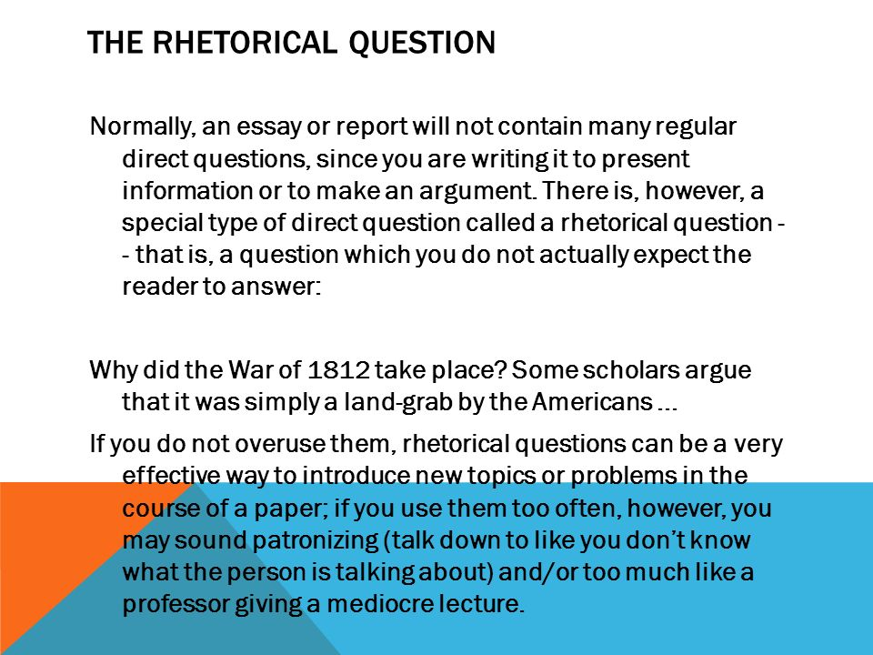 rhetorical questions in a formal essay