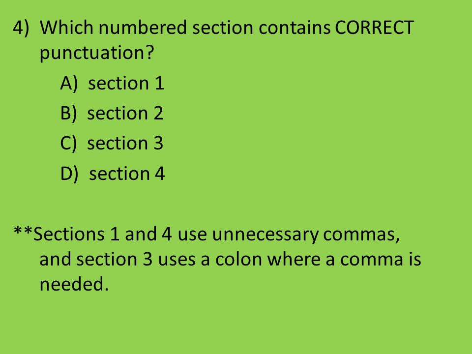 Which numbered section contains CORRECT punctuation
