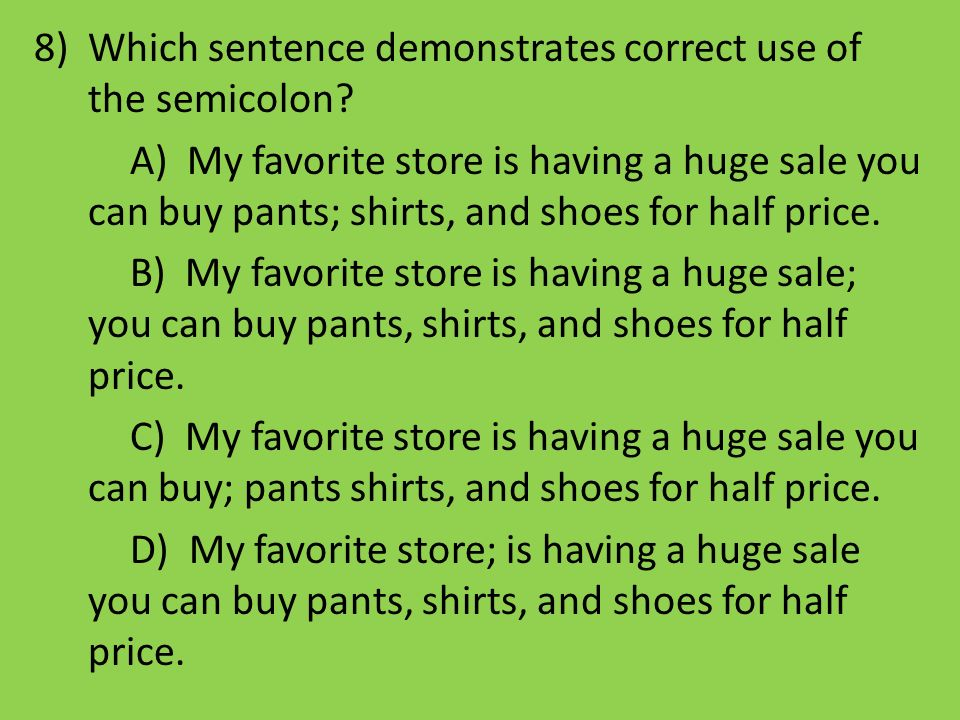 Which sentence demonstrates correct use of the semicolon