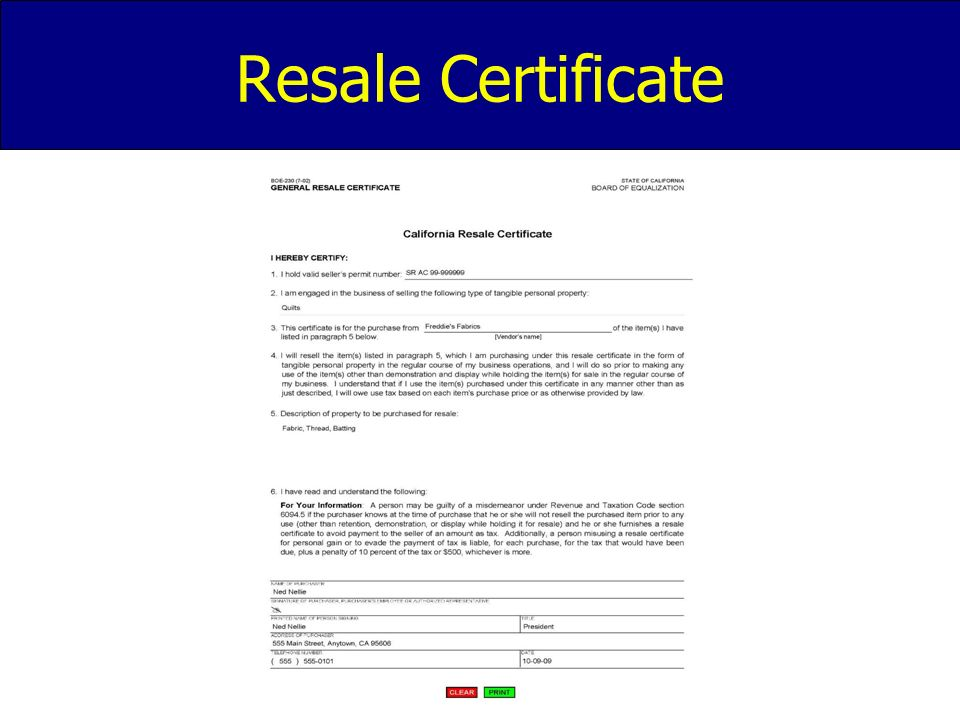 California Resale Certificate Form Seatledavidjoel