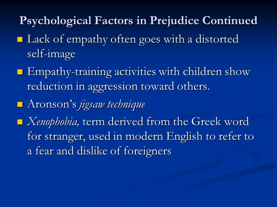 factors reducing prejudice Factors that may reduce prejudice  for the effectiveness of cognitive intervention in reducing prejudice  1 factors contributing to the development of.