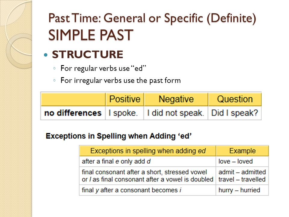 past tense and structure
