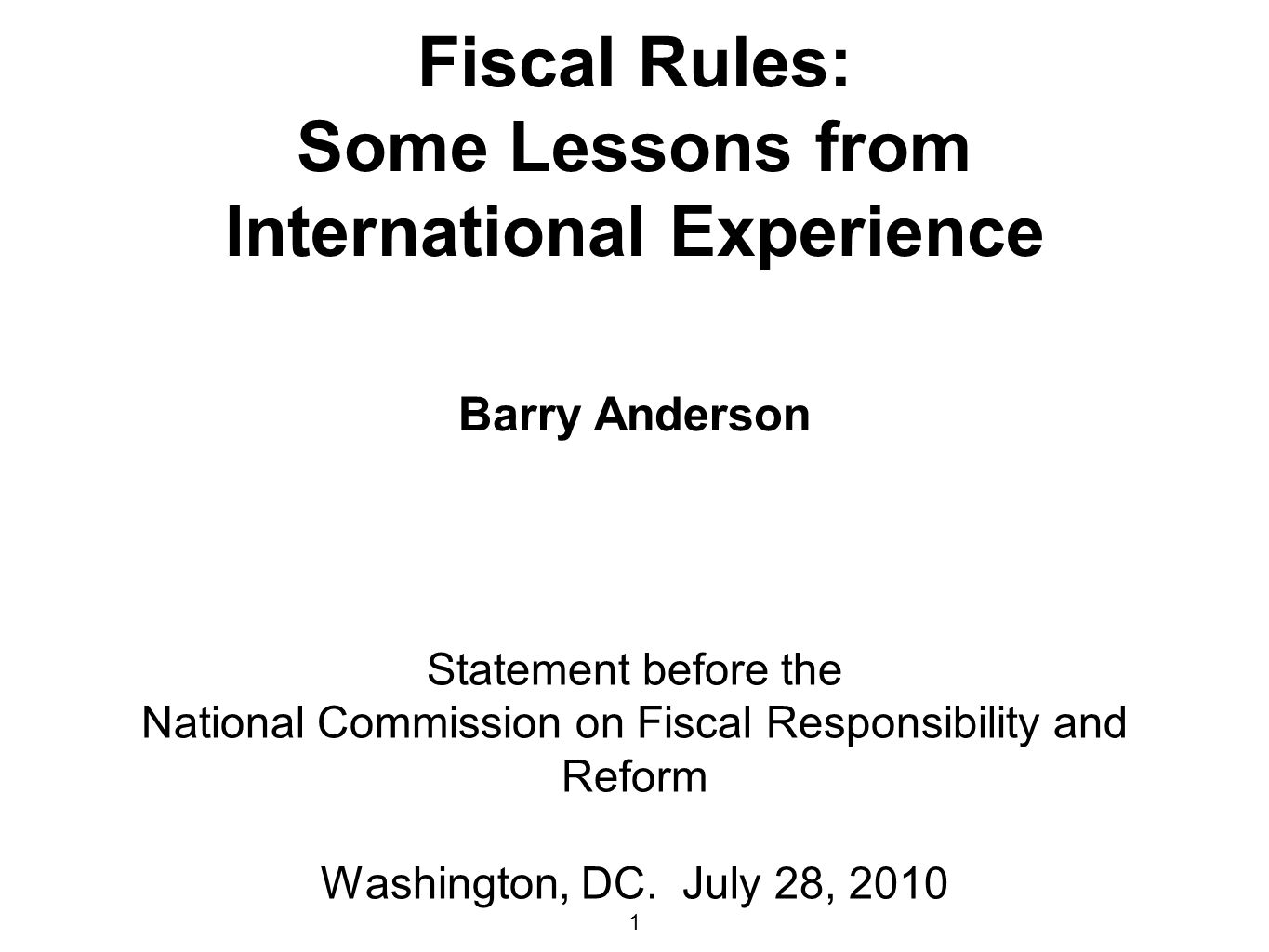 National Commission on Fiscal Responsibility and Reform