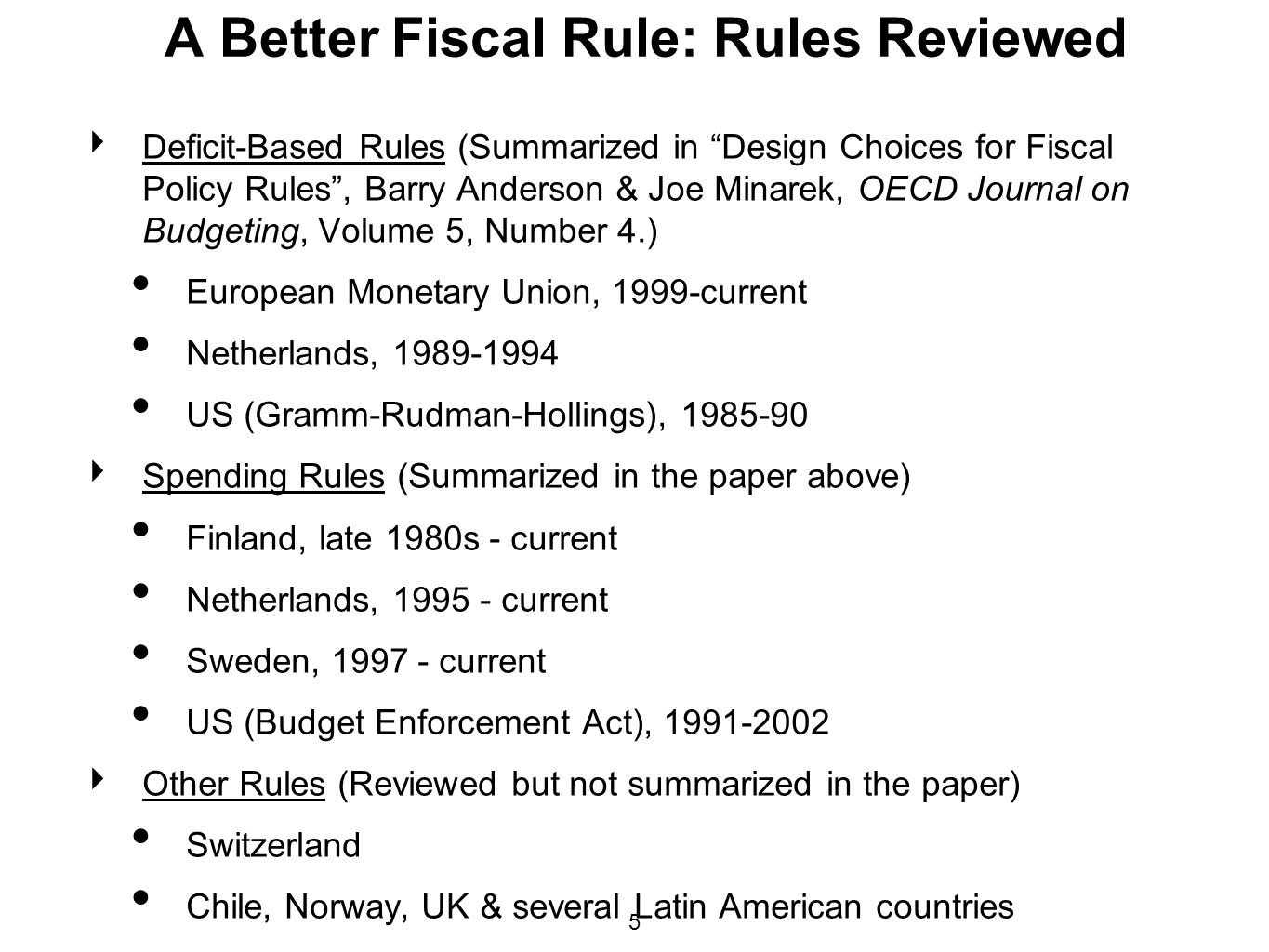 A Better Fiscal Rule: Rules Reviewed